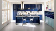 15 High Gloss Kitchen Designs in Bold Color Choices - Fox Home Design Kitchen Themes, Kitchen Colors, Kitchen Decor, Luxury Kitchen Design, Interior Design Kitchen, Kitchen Gift Baskets, Blue Kitchen Designs, High Gloss Kitchen, Küchen Design
