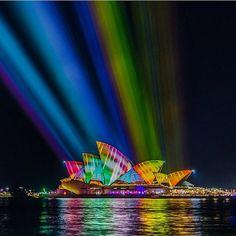 Spectacular image captured  of the Sydney Opera House at #vividsydney.