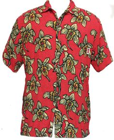 Vintage Mambo Loud Shirts Red Floral Button Front by TheclickEmart