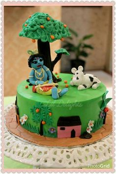 Krishna theme cake. No fondant covering.
