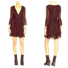 FREE PEOPLE Chiffon Sleeve A Line Lace Dress NWT Stunning! SOLD OUT EVERYWHERE! NWT Retail $250. Size 0.  Wrap sequin semi pleated detail. Short cocktail dress. Free People Dresses Prom