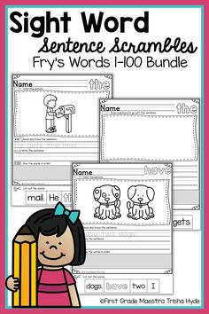 These printable no prep sight word fluency activities and worksheets will help your students learn how to read, write, spell, and use sight words in sentences. Included are the Frys Words High Frequency words. Learning Sight Words, First Grade Sight Words, Sight Word Practice, Reading Fluency, Reading Intervention, Teaching Kindergarten, Sight Word Sentences, Sight Word Worksheets, Fluency Activities