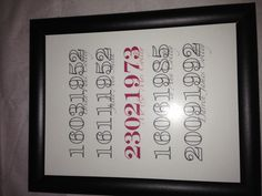 """A framed """"important Dates"""" for my parents 40th wedding anniversary <3"""