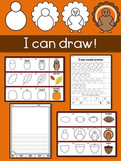 I can draw! Fall– Thanksgiving Turkey, Football, Owls, and More!  Celebrate fall this with these drawing and learning activities. $