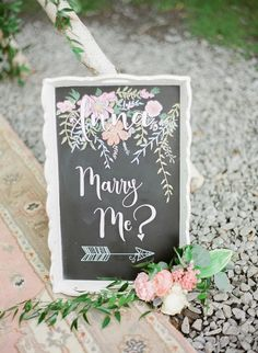 Gorgeous marry me proposal sign: http://www.stylemepretty.com/2016/09/22/surprise-proposal-photo-shoot/ Photography: Julie Paisley - http://juliepaisley.com/