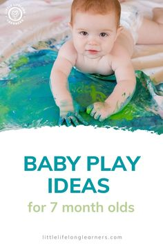 Baby play ideas at 7 months by Little Lifelong Learners. Seven month olds love sensory play and learn about the world by using their senses! I'm sharing our favorite baby activities for 7 month olds, including sensory bags, edible paint, and edible sensory play. Read the blog post for more ideas and inspiration for playing with your 7 month old! Baby Learning Activities, Motor Skills Activities, Painting Activities, Sensory Activities, Infant Activities, Baby Sensory Bags, Baby Sensory Play, Edible Sensory Play, Baby Play Areas