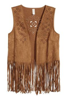 Fringed waistcoat: Waistcoat in imitation suede with a laser-cut pattern, fringes at the hem and no buttons. Bohemian Mode, Hippie Chic, 70s Fashion, Fashion Outfits, Ladies Fashion, Style Année 70, 70s Mode, Estilo Country, Stylish Girls Photos