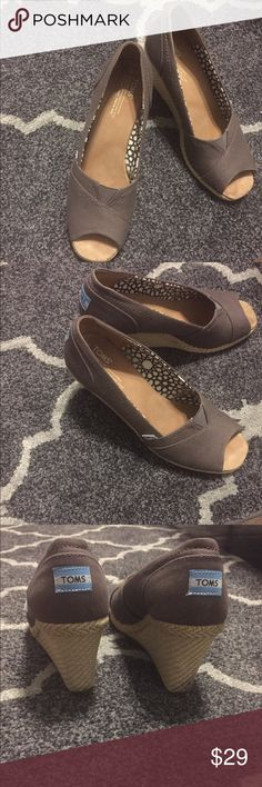 Toms Peep-toe Canvas Wedges (ash/light brown) Super comfortable, and thought I would wear more but just don't have enough brown tones in my closet.  I only wore them probably 3-4 times. Great condition! Toms Shoes Wedges