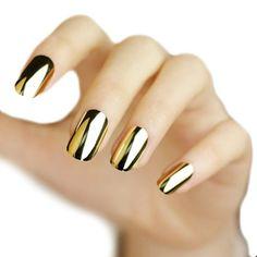 LOCOMO 12pc Metallic Color Electroplated Acrylic False Fake Full Nail Tip Art Gold NAC010GOL