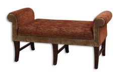 "Natalee, Bench - This decorative accent piece features a safari pattern, woven in plush shades of sienna and toffee with carved, hardwood legs stained dark weathered walnut. Seat height is 21"".  Designer: Matthew Williams."