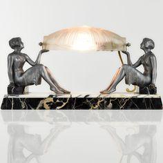 ENRIQUE MOLINS BALLESTE Rare 1930s French ART DECO Lady Dancer SCULPTURE LAMP