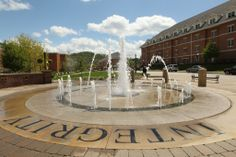 The Emeriti Fountain honors distinguished professors who have retired from teaching at California University of Pennsylvania. It also serves as a great spot to cool off in the summer.