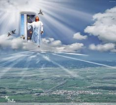 """""""When Jesus steps out on a cloud to call His children, the dead in Christ shall rise to meet Him in the air; but then those that remain will be quickly changed, at the midnight cry when Jesus comes again."""" Maxy is through that door! Heaven Pictures, Cool Pictures, Beautiful Pictures, Image Jesus, Cross Wallpaper, Pictures Of Jesus Christ, Bride Of Christ, Jesus Is Coming, Jesus Christ"""