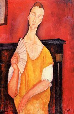 Madame Lunia Czechowska with a Fan : Amedeo Modigliani : Museum Art Images : Museuma