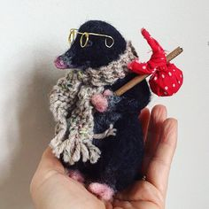 """#needlefelt #mole by - Emma Herian // Sew Recycled (@sewrecycled) on Instagram: """"Finished Mr Mole, he's now got his little travellers bundle on a stick searching for a new home!…"""""""