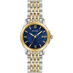 Bulova Women's Dress Two-Tone Stainless Steel Bracelet Watch 27mm... ($299) ❤ liked on Polyvore featuring jewelry, watches, dial watches, stainless steel wrist watch, bulova watches, two tone bracelet watch and bracelet watch