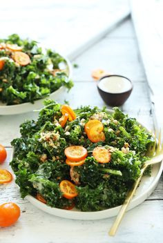 HEALTHY, SIMPLE Kale Salad with Kumquats Chia Seeds and a quick Tahini Dressing! So satisfying and quick #vegan #recipe #salad #healthy #kale