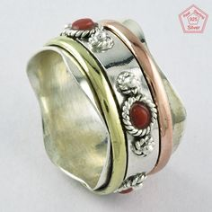 ANTIQUE CORAL STONE 925 STERLING SILVER SPINNER RING JEWELRY S.10 US R3873 #SilvexImagesIndiaPvtLtd #Spinner