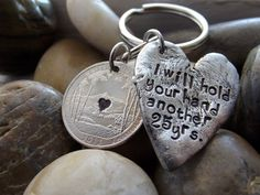 25yr Anniversary keychain with 1 quarter and Rustic by patsdesign, $27.00