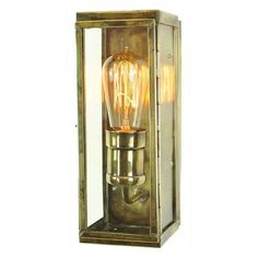 Vintage antique brass small wall lantern w/ retro filament bulb, suitable for exterior lighting in period settings. Great for porch lighting Front Door Lighting, Outdoor Wall Lighting, Exterior Lighting, Cottage Lighting, Edison Lighting, House Lighting, Industrial Lighting, Interior Wall Lights, Small Pendant Lights