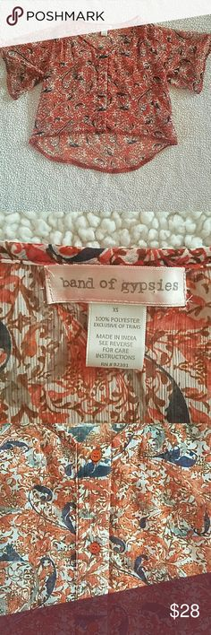 *JUST ADDED* Band of Gypsies sheer blouse • Band of Gypsies sheer blouse  • High low style/ buttons down the front/ trimmed with crochet pom pom detail  • 100% polyester  • Gently used condition. I did notice a very small run on one of the sleeves, but when I went to photograph it, I couldn't find it again. That's how unnoticeable it is.  • Smoke free home  • Make an offer! Band of Gypsies Tops
