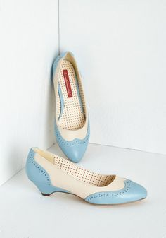 Sweet Spectator Heel in Sky. Peruse the national bake-off grounds, admiring mouthwatering recipes as tasteful as your vintage-inspired kitten heels by Bait Footwear. #blue #modcloth