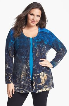 Nic + Zoe Antique Print Cardigan (Plus Size) available at #Nordstrom