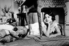 Gary Cooper & Audrey Hepburn Love in the Afternoon. He was a bull fighter with scars on his knees . .. Love that picnic scene. Rumor to use shadows to keep age difference between Cooper & Hepburn less noticeable.