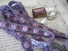 French Passementerie Trim Iris Purple Velvet 15mm wide (5/8th) Doll Ribbon
