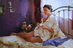Original Painting, Morning Alone by Michael & Inessa Garmash