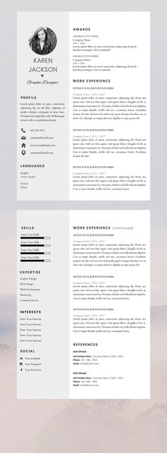 Professional Resume Template, Resume Instant Download, 3 Page Resume