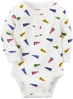Carter's Baby Boy Pennant Flag Henley Bodysuit