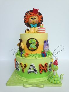 Children's Birthday Cakes - All butter cream cake with fondant details and topper ombre look on the butter cream Cake With Fondant, Fondant Cakes, Cupcake Cakes, Kid Cakes, Fondant Figures, Cupcake Ideas, Safari Baby Shower Cake, Baby Shower Cakes, Fancy Cakes