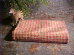 Authentic 19th C Antique Red Cream Check Homespun Fabric 1857 Covered Book AAFA   eBay cottagesandcamps