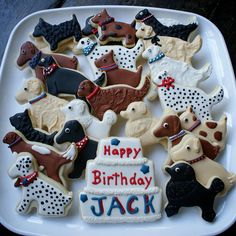 Birthday Cookies DOGS!  Have these made looking like Phil and Ralphie and deliver to friends/fam for Christmas...