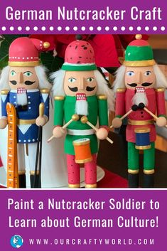 Painting these nutcrackers for Christmas is a Germany craft for kids sure to be loved by all. A great project for home or in a homeschool group. Around The World Crafts For Kids, Art For Kids, Germany For Kids, Nutcracker Crafts, German Christmas Traditions, Fun Activities For Kids, Geography Activities, German Nutcrackers, Christmas In Germany