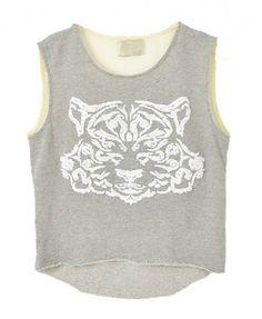 Grey Sleeveless Tiger Print T-shirt