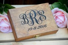 Monogrammed Ring Bearer Box  Shabby Chic by CountryBarnBabe