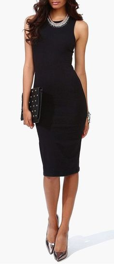 LBD: The LBD with metallic silver heels, a statement necklace and a studded bag. So chic.