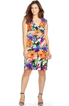 6c4f2e24fd2bd Lauren Ralph Lauren Print Surplice Jersey Sheath Dress (Plus Size)  available at  Nordstrom