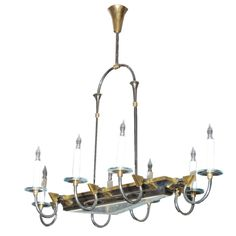 French Art Deco Gilt Metal And Glass Chandelier c 1940 | From a unique collection of antique and modern chandeliers and pendants  at http://www.1stdibs.com/furniture/lighting/chandeliers-pendant-lights/