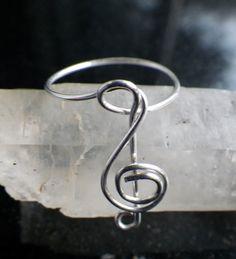 Treble Clef Sterling Silver Ring by silversunstudiobiz on Etsy, $15.00