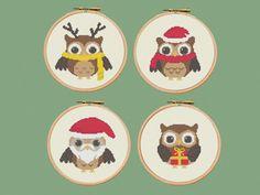 Cross stitch pattern, christmas owls, set of 4, christmas decoration, PDF ** instant download** par Happinesst sur Etsy https://www.etsy.com/fr/listing/190836386/cross-stitch-pattern-christmas-owls-set