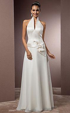 Sheath/Column Halter Floor-length Satin And Chiffon Wedding... – USD $ 179.99