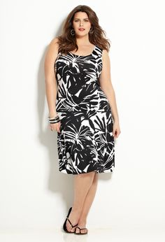 Black & White Fit and Flare Dress | Plus Size View All Dresses | Avenue