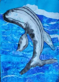Dream Painters (Aug Humpback Whale Painted Paper Collage: Lilly H Whale Painting, Save The Whales, Humpback Whale, Whale Watching, Painted Paper, Sea Creatures, Painters, Dolphins, Art Lessons