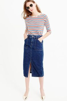 A denim midi-skirt is a must-have. This high-waisted option is choice. J.Crew Denim Front Slit Skirt, $110 $79.99, available at J.Crew. #refinery29 http://www.refinery29.com/2016/06/114391/j-crew-summer-clothing-2016#slide-17