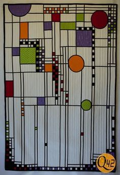 Frank Lloyd Wright Inspired Quilt by Debra Bingham of Colchas Quilting, Machine Quilting, Quilting Projects, Quilting Designs, Sewing Projects, Modern Quilting, Stained Glass Quilt, Stained Glass Patterns, Quilted Throw Blanket