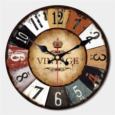 47e9fa056fc WONZOM Artistic Silent Retro Creative Modern Design Round Vintage Shoe  Decorative Antique Wooden Home Large Wall Clock Gift 2017 Review