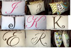 CUTE! My Monogram Pillow WITH MY CHOICE OF DESIGNER FABRIC BACK. 12x18 by BurlapandLovely on Etsy,